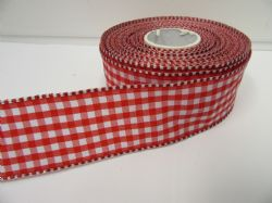 Red 2 metres or full roll x 38mm Wired Florist Gingham Ribbon Double Sided check stiff edged